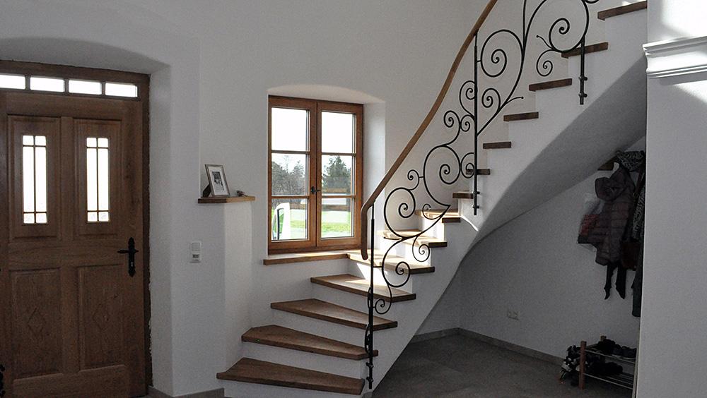 Treppe Eiche Schmiedeeisern Geländer